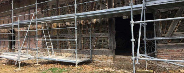 Reprise des trapans avec clayonnages à la ferme de la Bresse dans l'Ain